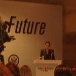 Η Υπουργός Οικονομικών της Γεωργίας, Vera Kobalia, στο βήμα, 25-1-2011